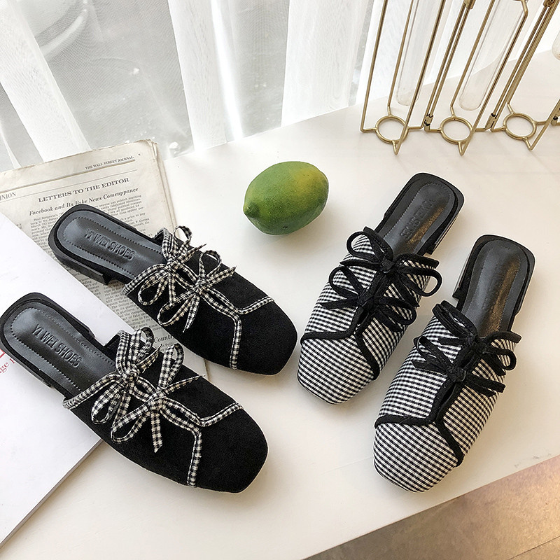 Fashion Flats Mules Shoes Women Slip On Square Toe Slides Leather Black Check Plaid Butterfly-knot Ladies Slippers Spring Summer