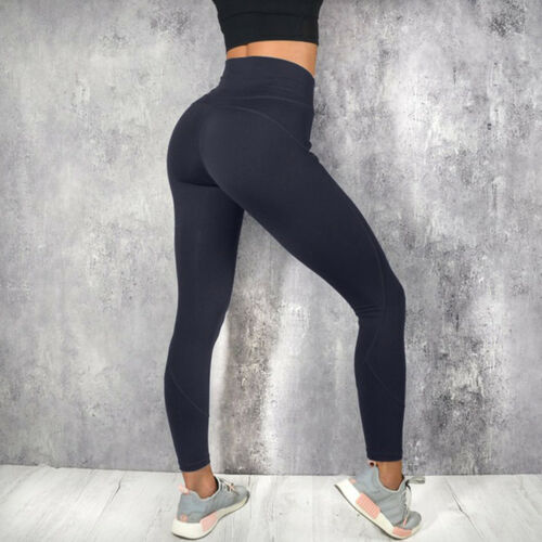 Women Casual High Waist Fitness Leggings Ladies Solid Color Long Scrunch Leggings Ankle-Length Woman Clothes