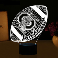 OHIO STATES Football 3D Lamp LED Night Light USB Table Touch 7 Colors Changing Football Rugby