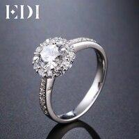 EDI 정품 1CT 라운드 컷 Moissanites 다이아몬드 반지 14 천개 585 화이트 골드 웨딩 밴드 보석