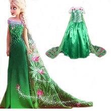 2016 summer green elsa costumes Girls Cosplay party Dresses Princess anna dress vestidos de festa meninas for children