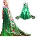 2016 verano verde trajes de Cosplay party Girls Vestidos Princesa elsa anna vestido de vestidos de festa meninas para niños