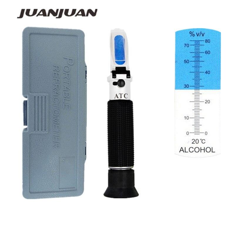 Tragbare Hand 0-80% alkoholometer Alkohol refraktometer schnaps alkohol Inhalt Tester mit einzelhandel box 33% off