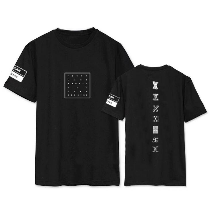 Kpop monsta x concert same printing o neck short sleeve t shirt for fans supportive summer tee o neck t-shirt