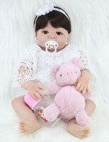 55cm Full Body Silicone Bebe Reborn Girl Doll Toddler Toy Lifelike 22 Vinyl Princess Doll Waterproof Birthday Gift for Girl