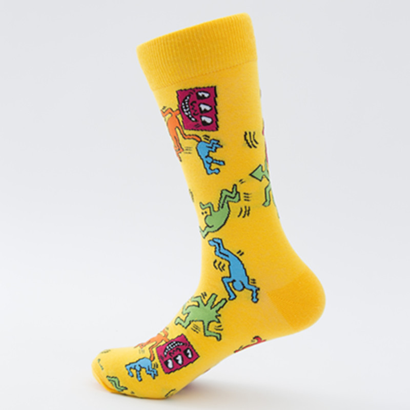 945002413d9e4 Combed Cotton Men Socks Colorful Jacquard Crew Happy Socks Korea Flamingo/Monstera  Leaf/Dinosaur Eggs Funny Socks Smiley Ne70139-in Men's Socks from ...