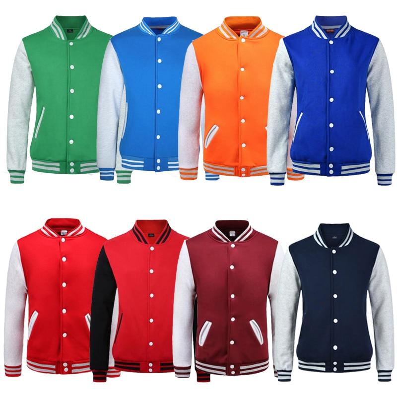 Men Women College Baseball Jacket Letterman Varsity Coat Green Orange Navy Blue Maroon Red Boy Girl