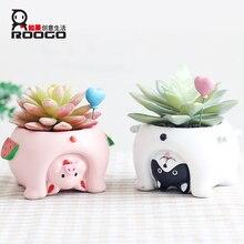 Купить с кэшбэком Roogo Flower Pot Mini Succulent Pot Modern Annimal Plant Pot Garden Cactus Pots Home Decor Balcony Decorations Planters Gift