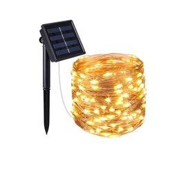 في الهواء الطلق تعمل بالطاقة الشمسية 33 قدم 100 LED 10 متر مصباح سلك النحاس سلسلة أضواء عيد الميلاد الزخرفية