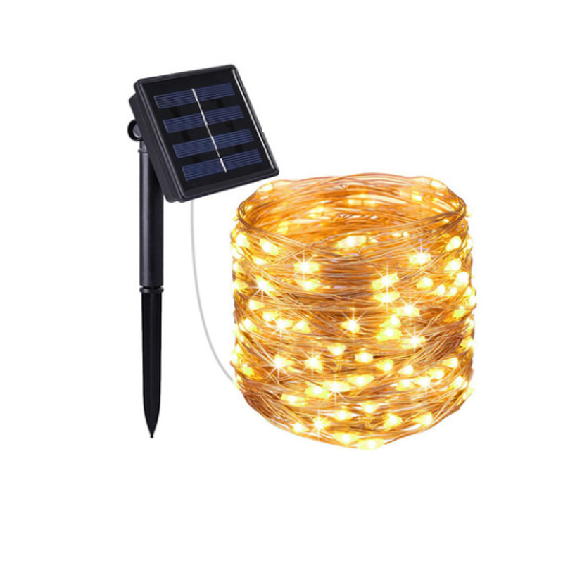 Outdoor Solar Powered 33 Ft 100 LED 10M Copper Wire Light String Xmas Decorative Lights