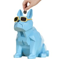 Geometric Bulldog Piggy Bank Figurine Animal Dog Money Box Art Sculpture Resin Art&Craft Home Decoration Accessories R513
