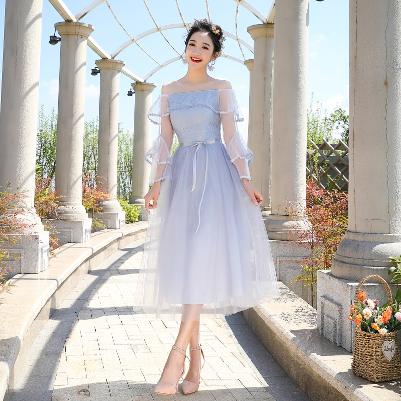 Autumn New Gray Women Sexy Flower Gowns 17 Style Available Bridesmaid Wedding Dress Evening Party Solid Dressing Dance Cheongsam
