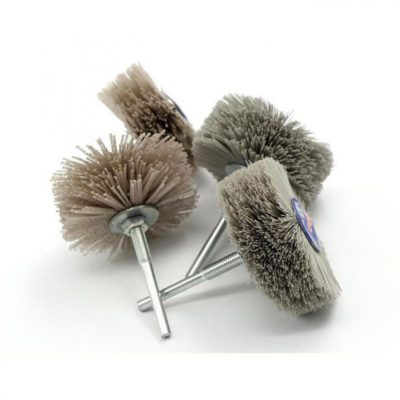 4 Pieces 80*30*6mm Drill Abrasive Wire Grinding Wheel Nylon Bristle Polishing Brush For Wood Furniture Mahogany