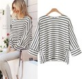 Kesebi 2017 Spring Summer Women European O-neck Black and White Striped T-shirts Female Batwing Three Quarter Sleeve Loose Tops