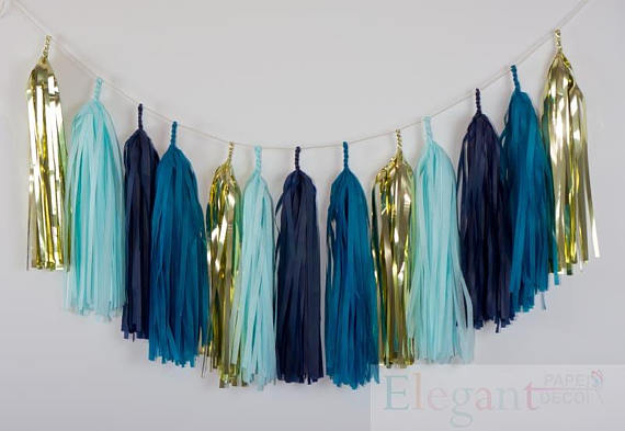 Us 9 0 10ft Of 20 Tassels Diy Tassel Garland Kit Champagne Gold Teal Blue Navy Light Blue Wedding Shower Tissue Paper Tassle Decor In Party Diy