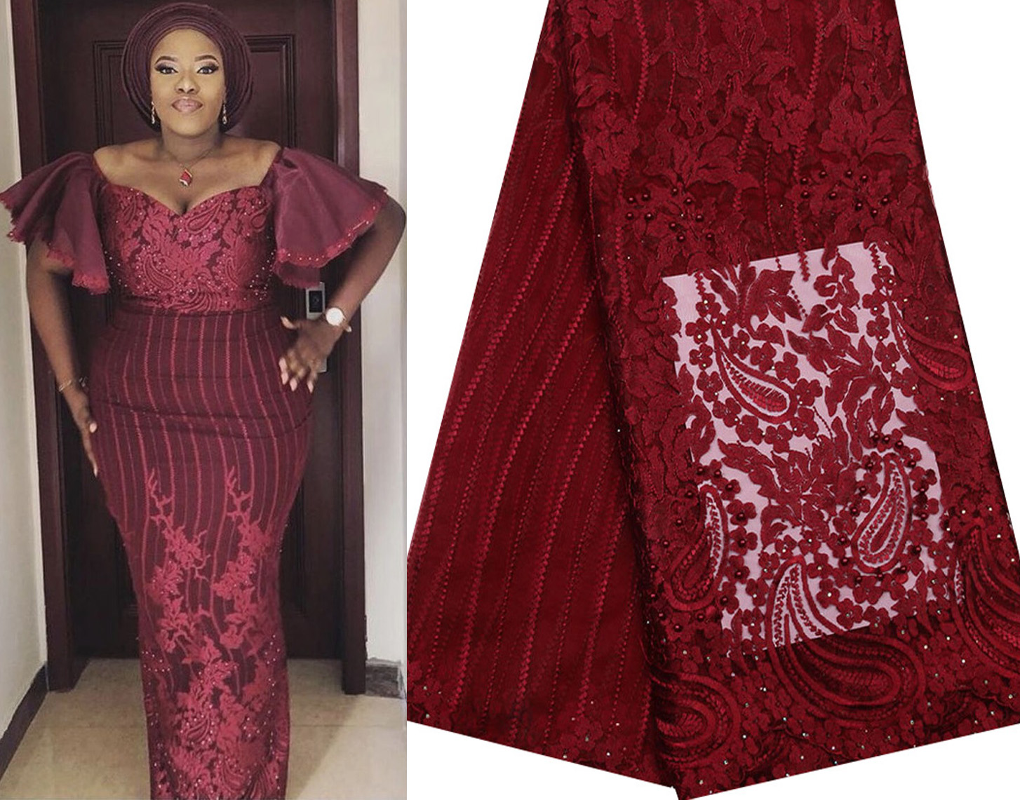 2019 Latest Nigerian Wine Red Laces Fabrics High Quality African Laces Fabric For Wedding Dress French Tulle Lace ZA168