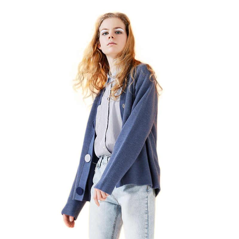 Toyouth Cardigan Delle Donne Solid Manica Lunga Maglione Blu Casual Con Scollo A V Lavorato A Maglia Maglie e Maglioni Single-Petto Tirare Femme Tuta Sportiva del Cappotto