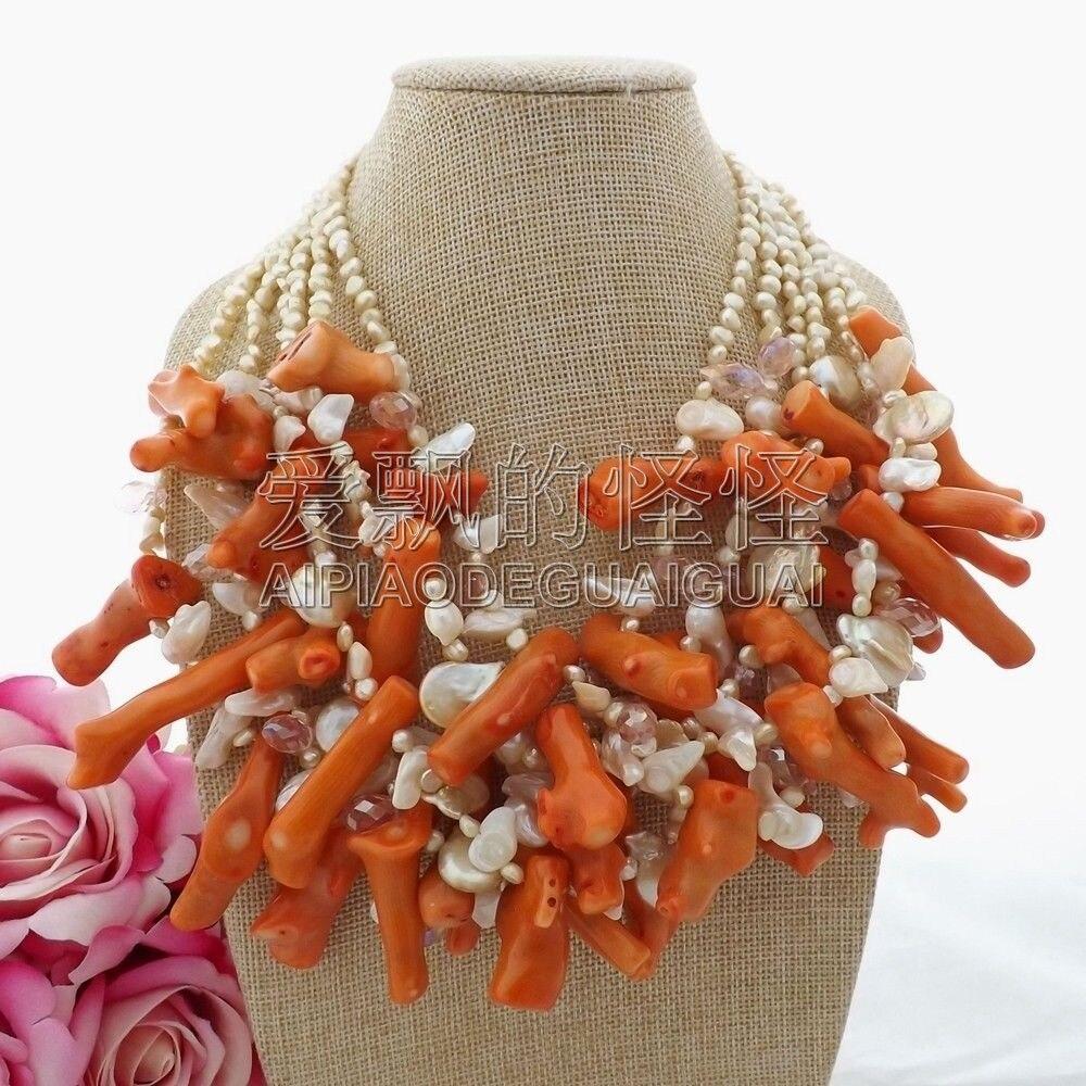 N092409 20 6 Strands Pearl Coral Crystal NecklaceN092409 20 6 Strands Pearl Coral Crystal Necklace