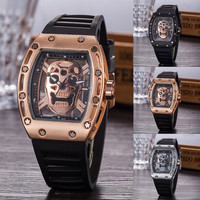 Casual Skull Mens Watches Top Brand Luxury Silicone Hollow Quartz Watch Wristwatch Mens Discount Military Army