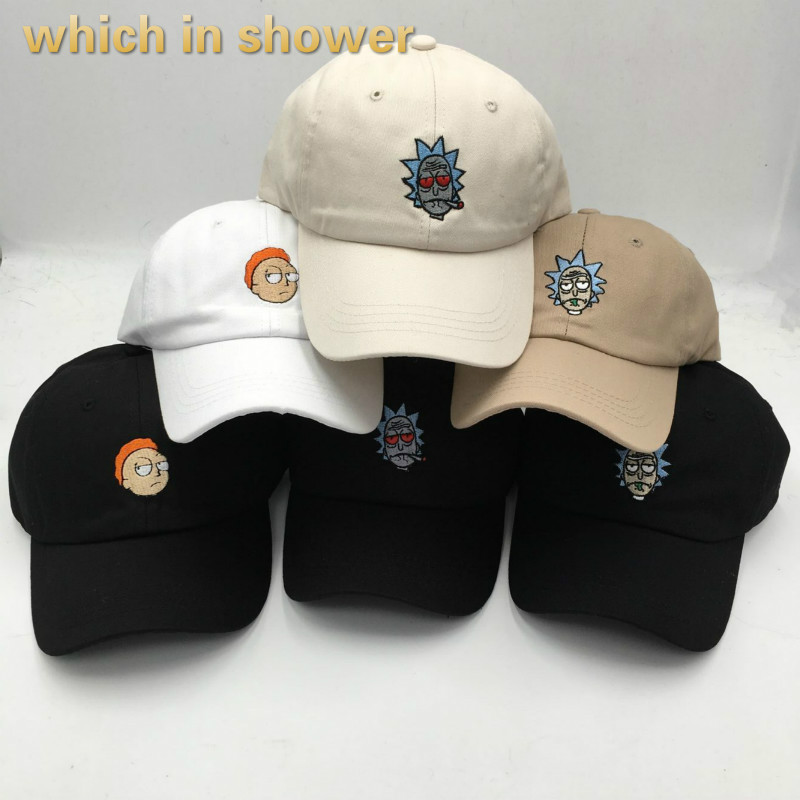 which in shower men crazy Rick and Morty hat summer   baseball     cap   bone cotton snapback Rick   cap   high quality male dad hat gorras