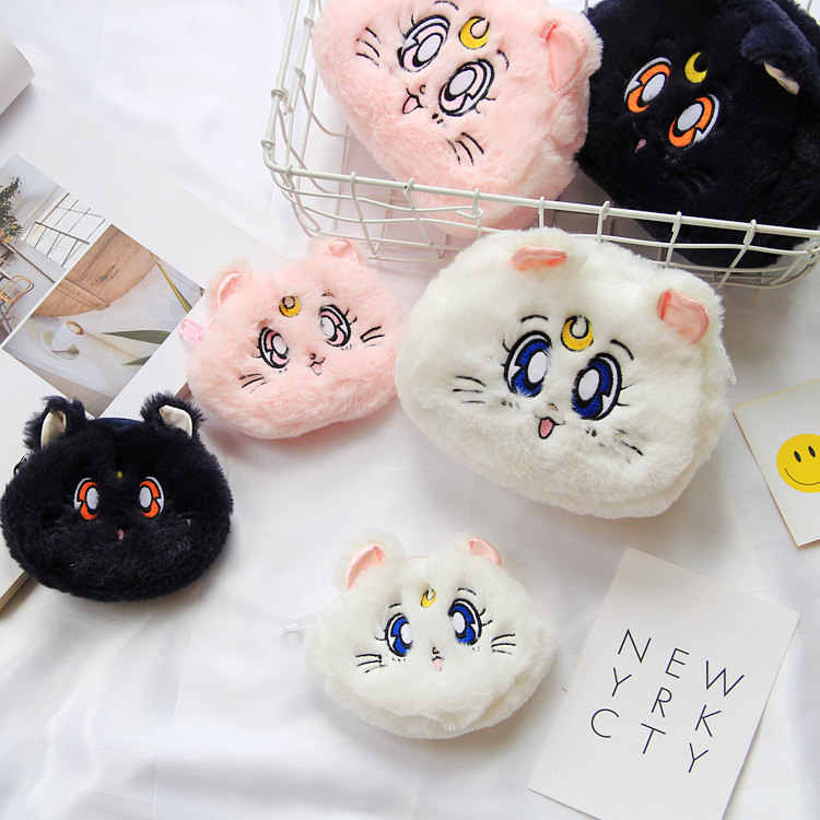 Sailor Moon Luna Cat Wallet Plush Pocket Cartoon Lovely Make-up 3 Color Soft High Quality Bag Japanese Classic Anime Periphery