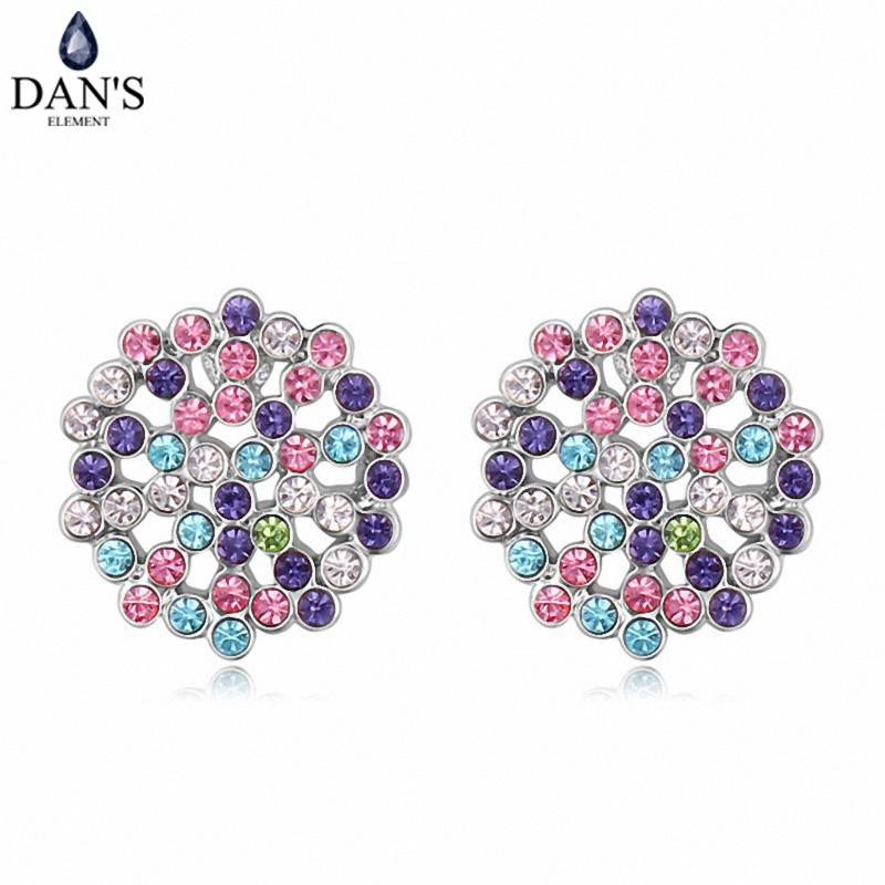 DANS 5 Colors Real Austrian crystals Stud earrings for women Earrings s New Sale Hot Round 120562