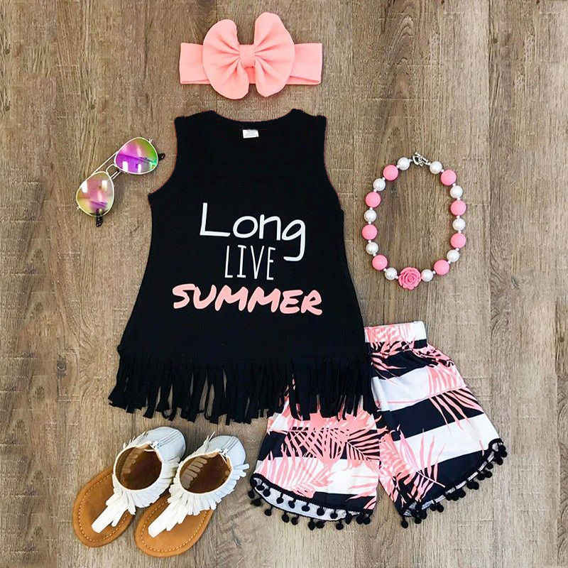 Girls Clothing Sets 2019 Baby Girl Summer Outfits Kids Girl Clothes Vest Top T shirt+ Short Pant Headband 3PCS Set Dropshipping