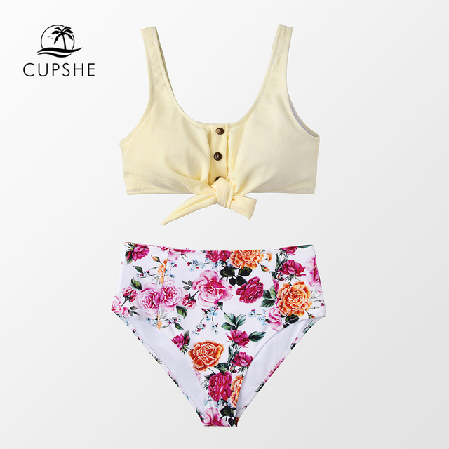 CUPSHE Solid Tie-Front Tank And Floral High-Waisted Bikini Sets 2020 Women Boho Button Two Pieces Swimsuits 4