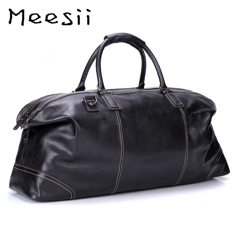 Meesii Men Genuine Leather Travel Bag Large Capacity Business Traveling Bags For Men Black Handbag