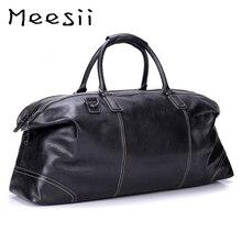 Meesii, Мужская Дорожная сумка из натуральной кожи, большая вместительность, деловые дорожные сумки для мужчин, черная сумка