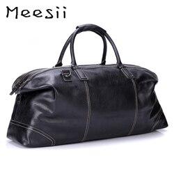 Meesii Männer Echtes Leder Reisetasche Große Kapazität Business Reisen Taschen für Männer Schwarz Handtasche