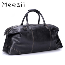 Meesii Men Genuine Leather Travel Bag Large Capacity Busines