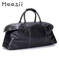 Meesii Men Genuine Leather Travel Bag Large Capacity Business Traveling Bags for Men Black Handbag