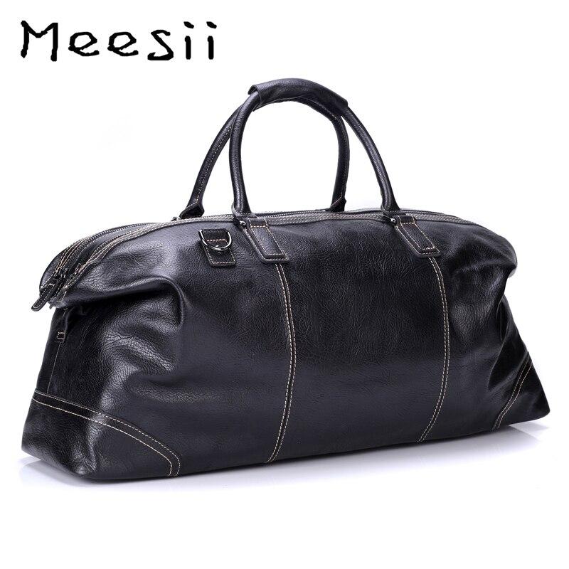Meesii hommes sac de voyage en cuir véritable grande capacité sacs de voyage d'affaires pour hommes sac à main noir