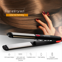 Top Quality Hair Straightening Flat Irons LED Professional Hair Straightener Curling Tongs Hair curlers Styling Tool With Lock50