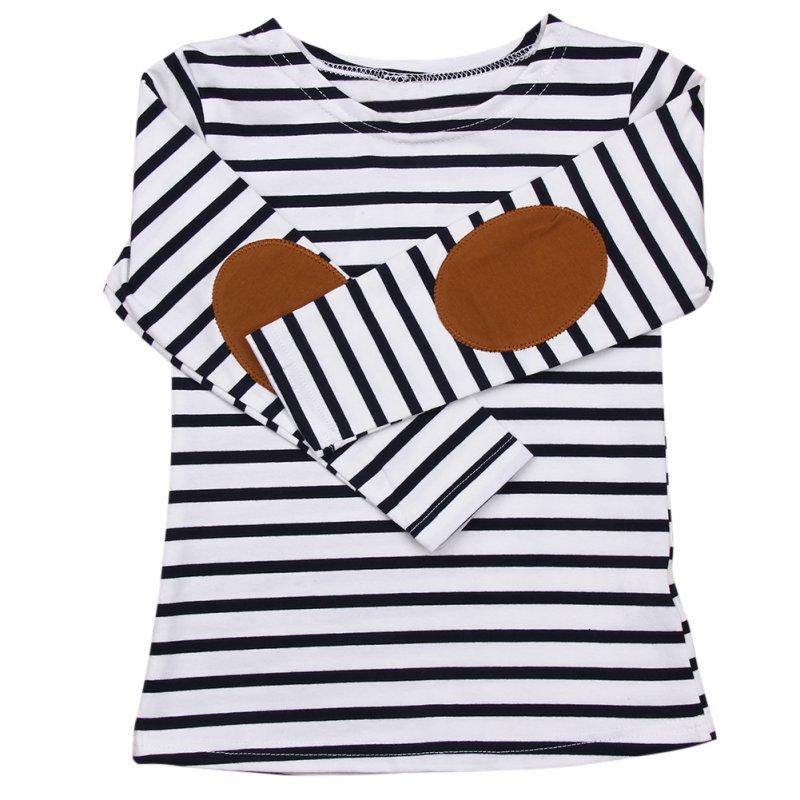 Crianças do bebê meninos meninas camiseta infantil criança manga longa listrado algodão topos camisa crianças unissex primavera outono roupas