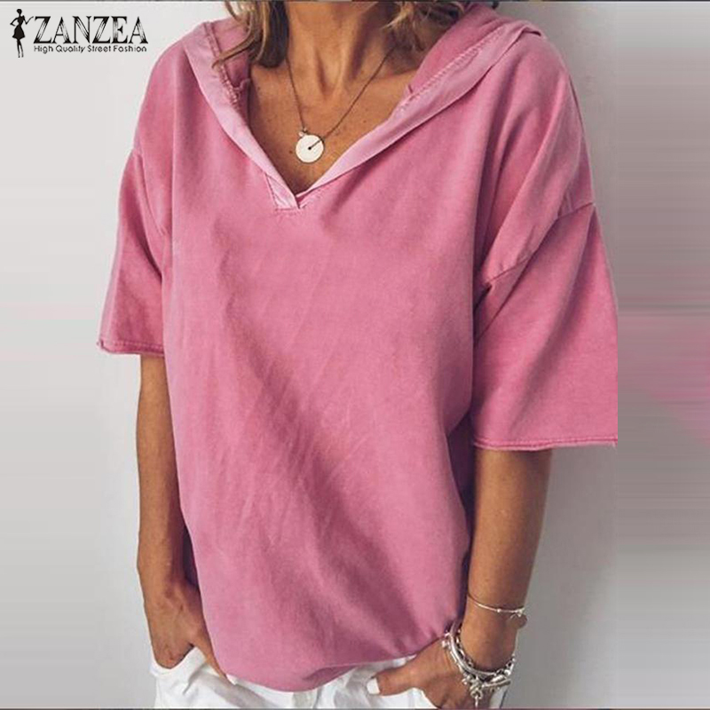 Summer Hoodies Short Sleeve Blouse ZANZEA Women Shirt Casual Solid Loose Tunic Tops Robe Femme Party Blusas Mujer Tee Plus Size