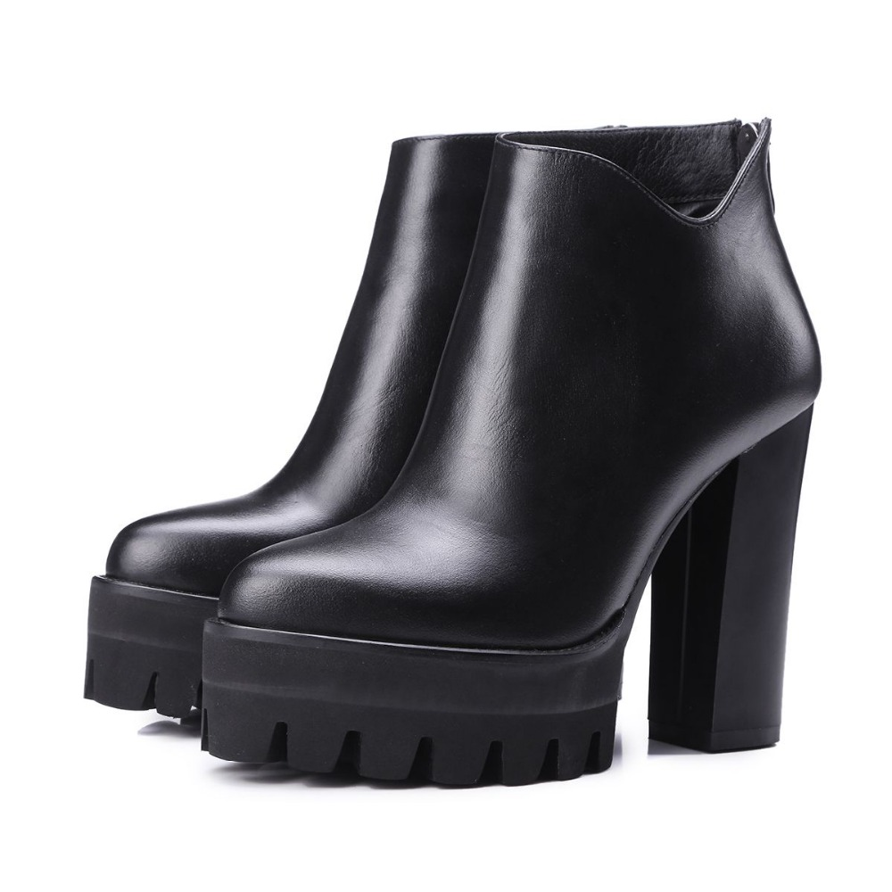 ФОТО 2017 genuine leather platform increased thick extreme high heel women ankle boots solid classic zip chelsea boot work brand shoe