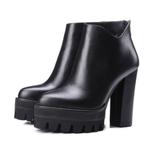 2017 genuine leather platform increased thick extreme high heel women ankle boots solid classic zip chelsea boot work brand shoe