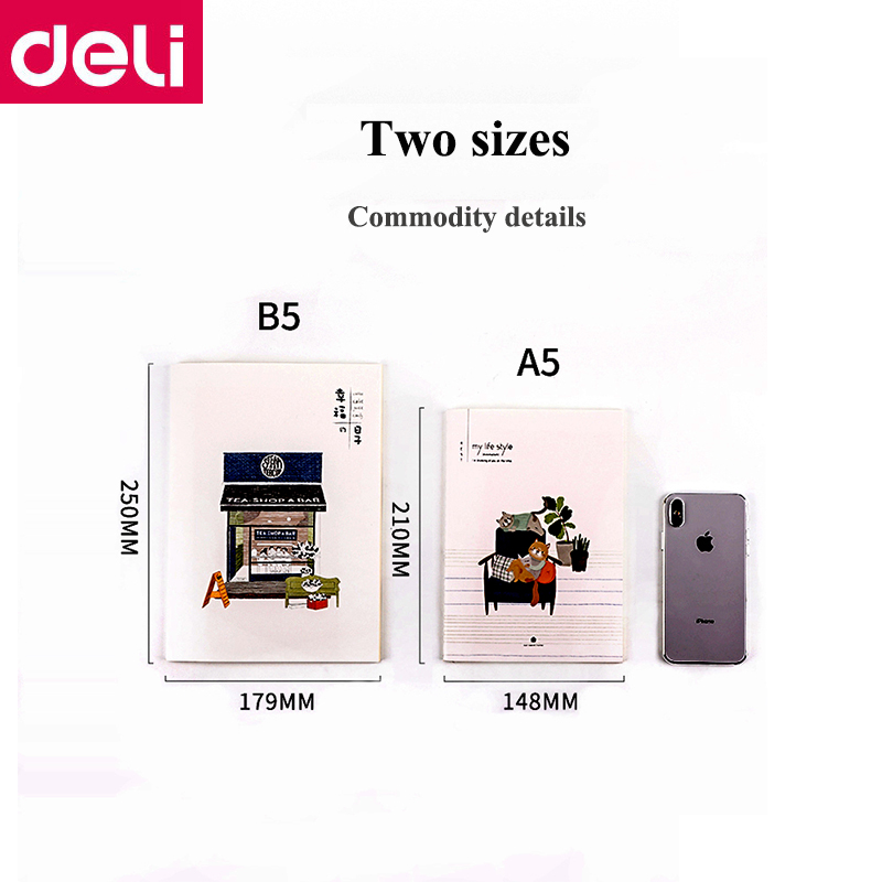 12PCS/LOT Deli A5(210x148mm) B5(250x175mm) Suture book Notebook Writing book Cartoon cover books student children notebooks