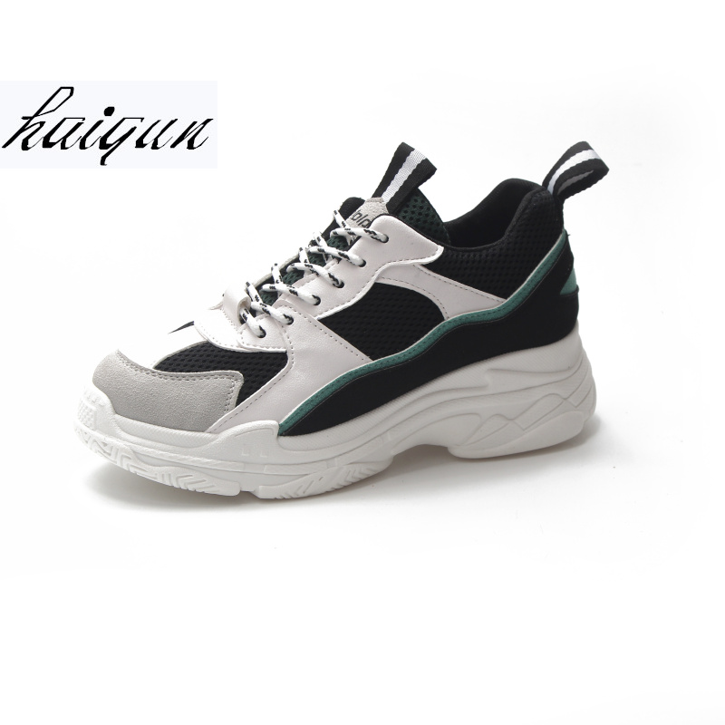 Women Sneakers 2018 New Fashion Women Casual Shoes Trends Ins Female White Flats platform Spring Summer Lace Up Size 35-39 2018 spring women flats shoe flowers embroidery shoes waterproof platform floral flats lace up casual white shoes female