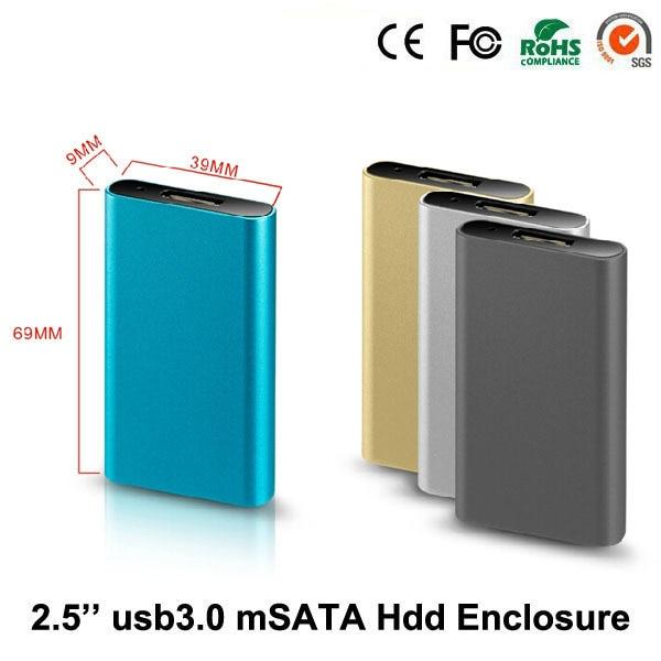 5GBPS msata to USB 3.0 2.5 hard disk hdd enclosure aluminum external hard drive case usb 3.0 2.5 caddy ssd