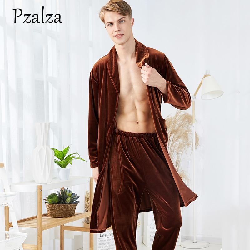 Two-Piece Mens Night Robe Winter Nightgown Robe Soft Warm Velour Male Long Robe+Pants Bathrobe Men Robe Set Belt Long Sleeve