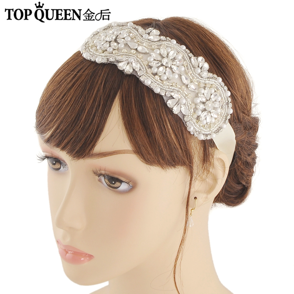 TOPQUEEN H47 Fashion Bridal Hair Accessories For Women Rhinestones Pearls Hairband Bride High Quality Magnificent Headpieces