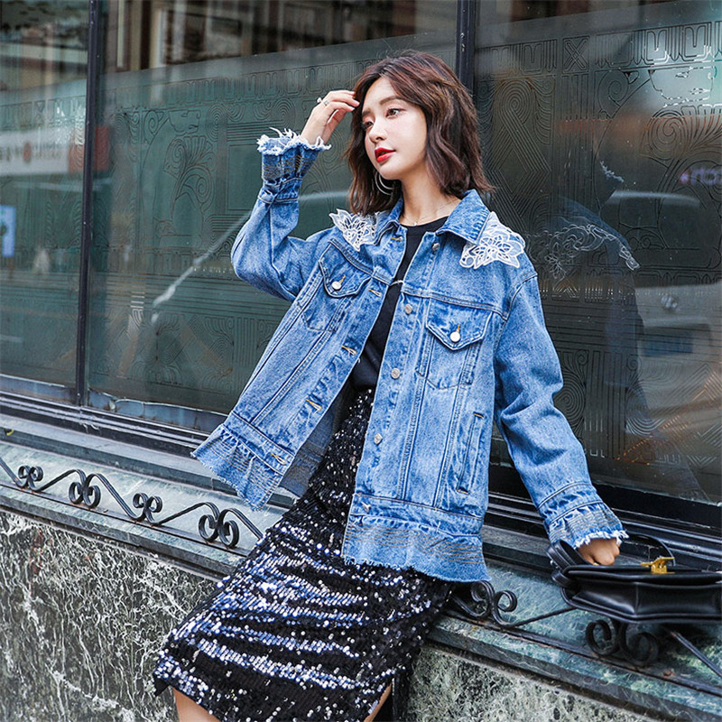 Denim Jacket Women 2019 Spring Fashion New Loose Coat Single Breasted Slim Ruffled Lace Embellished Denim Outerwear Female WIN77 - 6
