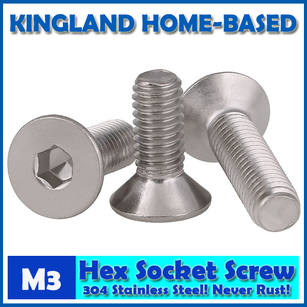 M3 DIN7991 Hexagon Hex Socket Countersunk Flat Head Cap Screws 304 Stainless Steel DIY Home Maintain Matel Working m4 din7991 hexagon hex socket countersunk flat head cap screws 304 stainless steel diy home maintain matel working