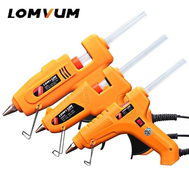 LOMVUM Professional High Temp Hot Melt Glue Gun 30W Graft Repair Heat Gun Pneumatic DIY Tools Hot Glue Gun free Glue sticks