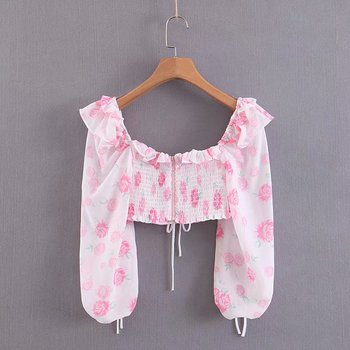Słodkie elegancki różowa róża Ruffles krótkie bluzki śliczne dziewczyny stylowe Lace-Up kwadratowy kołnierz topy Casual Sexy kobiety Blusas