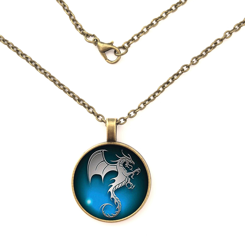GDRGYB 2019 Hot Dragon Flying Seahorse pattern glass necklace for male and female clothing accessories Pendant necklace in Pendant Necklaces from Jewelry Accessories