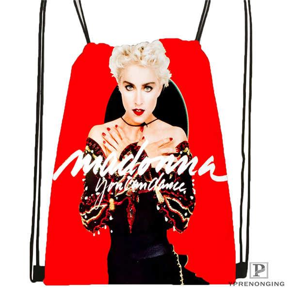 Custom Madonna- @01 Drawstring Backpack Bag Cute Daypack Kids Satchel (Black Back) 31x40cm#180611-03-106